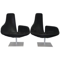 Pair of Moroso Fjord Leather Swivel Armchairs for Patrizia Urguiola