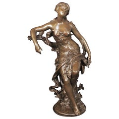 Patinated Bronze Sculpture of a Seated Woman by H. Pie, circa 1900