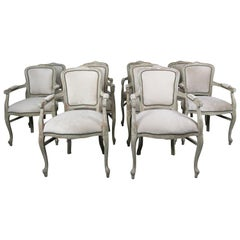 Set of 10 French Louis XV Style Velvet Armchairs