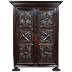 Early 18th Century French Louis XIII Carved 2-Door Cabinet