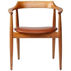 Arne Wahl Iversen Elm Wood Round Chair, circa 1960