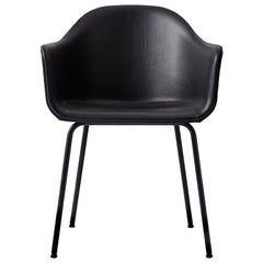 """Harbour Chair, Black Steel Legs and a Leather covered Shell, Nevotex """"Dakar"""""""