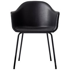 """Harbour Chair, Black Steel Legs and a Leather Covered Shell, Nevotex """"Dunes"""""""