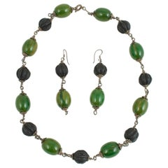 Mid-20th Century Bakelite and Amber Paste Bead Necklace and Earrings, Tunisia