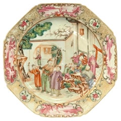 18th Century Chinese Export Famille Verte Octagonal Plate