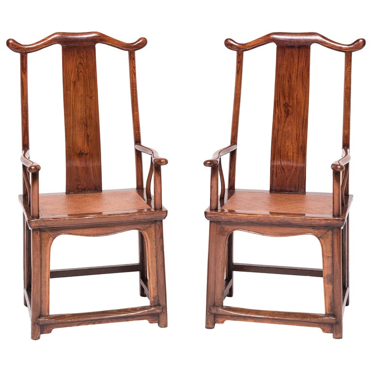 Pair of 19th Century Chinese Official's Chairs For Sale
