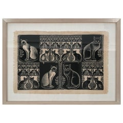 Folly Cove Designers Cat and Kitten Themed Hand Block Print