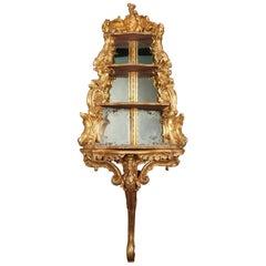 Mid-18th Century Italian Rococo Giltwood Corner Console