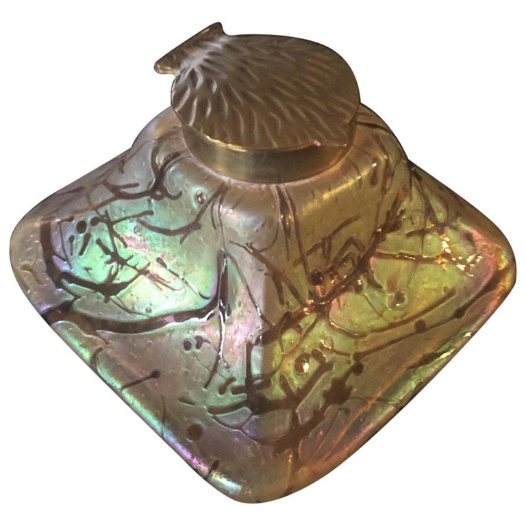 Iridescent Art Nouveau Art Glass Inkwell by Loetz For Sale
