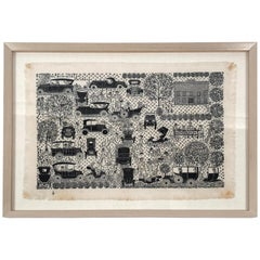 Folly Cove Designers Hand Block Print with Antique Automobiles