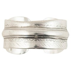 Early to Mid-20th Century Tribal Bedouin Silver Cuff, Tunisia