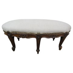 19th Century French Walnut Linen Footstool