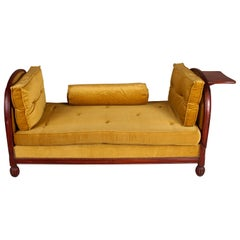 French Art Deco Mahogany and Velvet Daybed