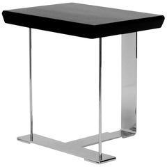 'MS' Wood and Chrome Table in the Manner of Pierre Chareau