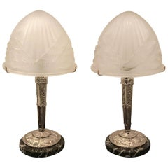 Pair of French Art Deco Table Lamps by Schneider