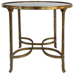 Brass and Granite Gueridon Table with Faux Bamboo Legs in Maison Jansen Style