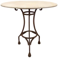 Wrought Iron Bistro Table with a Stone Top