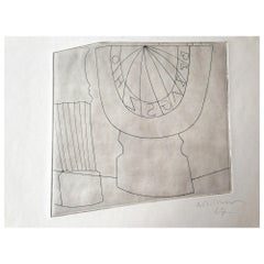 Ben Nicholson Turkish Sundial and Column, 1967 35/50, Etching