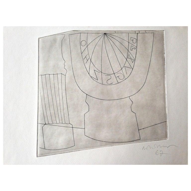 Ben Nicholson Turkish Sundial and Column, 1967 35/50, Etching For Sale