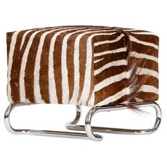 Steel Tube Stool Bench Table or Ottoman with Original Vintage Zebra Skin, 1930s