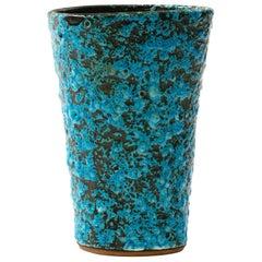 1960s Italian Turquoise Volcanic Glaze Vase