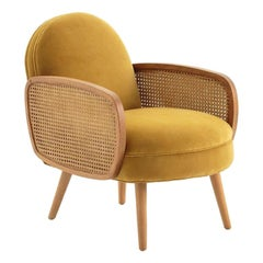 French Design and Midcentury Style Velvet and Wood Armchair