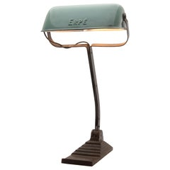 Erpe Belgium, Notary Bankers Desk Lamp with Green Enamel Shade, 1930s