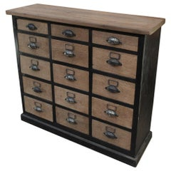 French Commode 15-Drawer Cabinet in Solid Oak, circa 1900