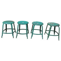 "4 Iron Factory Stools by ""Nicole"" France, circa 1930"