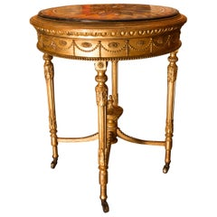 Rare Italian 19th Century Giltwood Round-Table with Scagliola Top