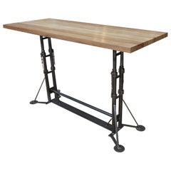 Industrial Bar Table in Metal circa 1930s and Solid Oak Top