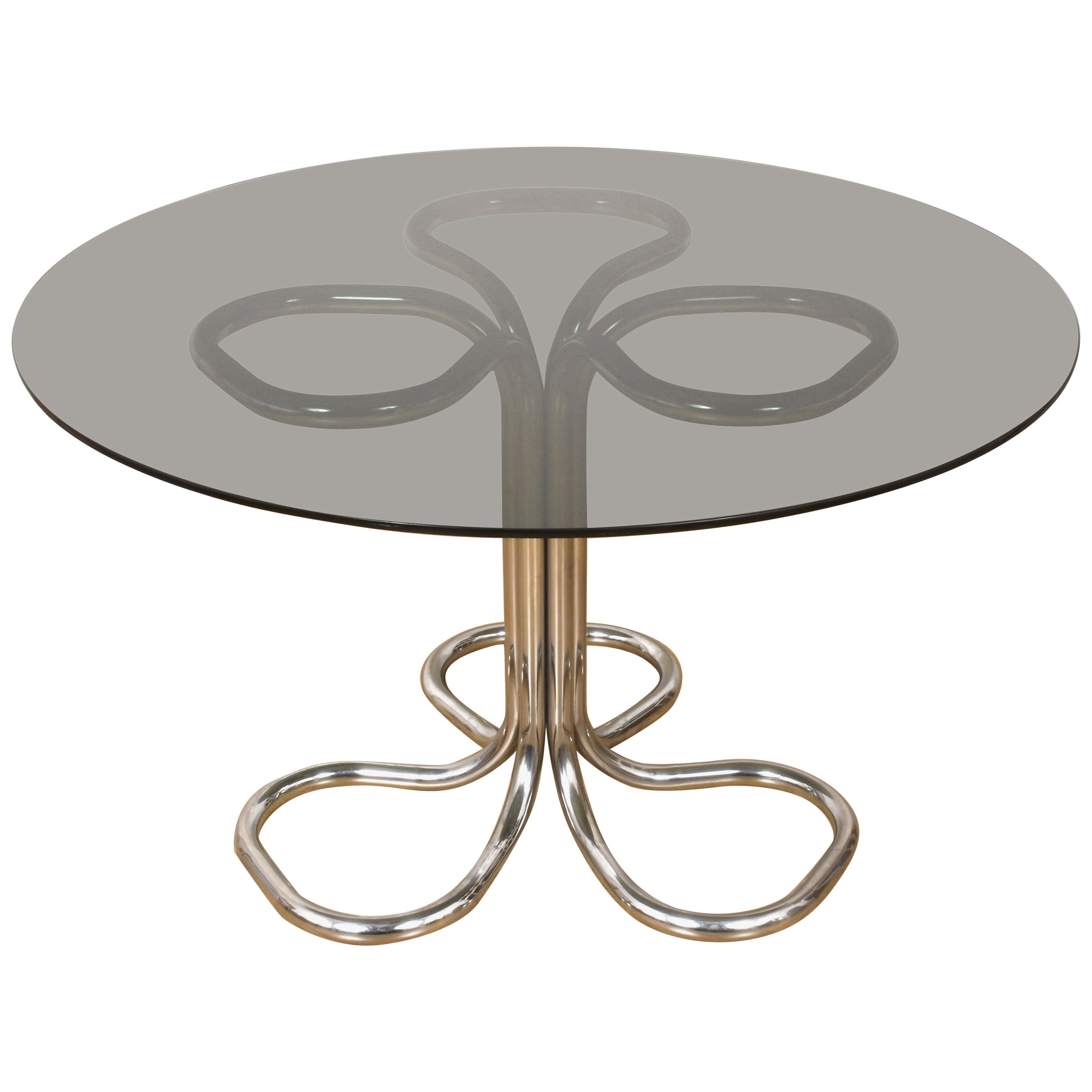Italian Chrome Base Smoked Glass Top Dining Table, Giotto Stoppino, Italy, 1970s