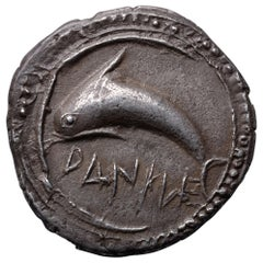 Ancient Greek Silver Dolphin Drachm Coin from Zankle, 500 BC