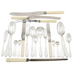 Antique Sterling Silver Canteen of Cutlery for 12 Persons, 100 Pieces