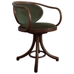 Rare & Beautiful Model Thonet Style, Single Height Swivel Chair Green Upholstery