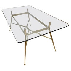 Midcentury Elegant Glass and Brass Dining Table