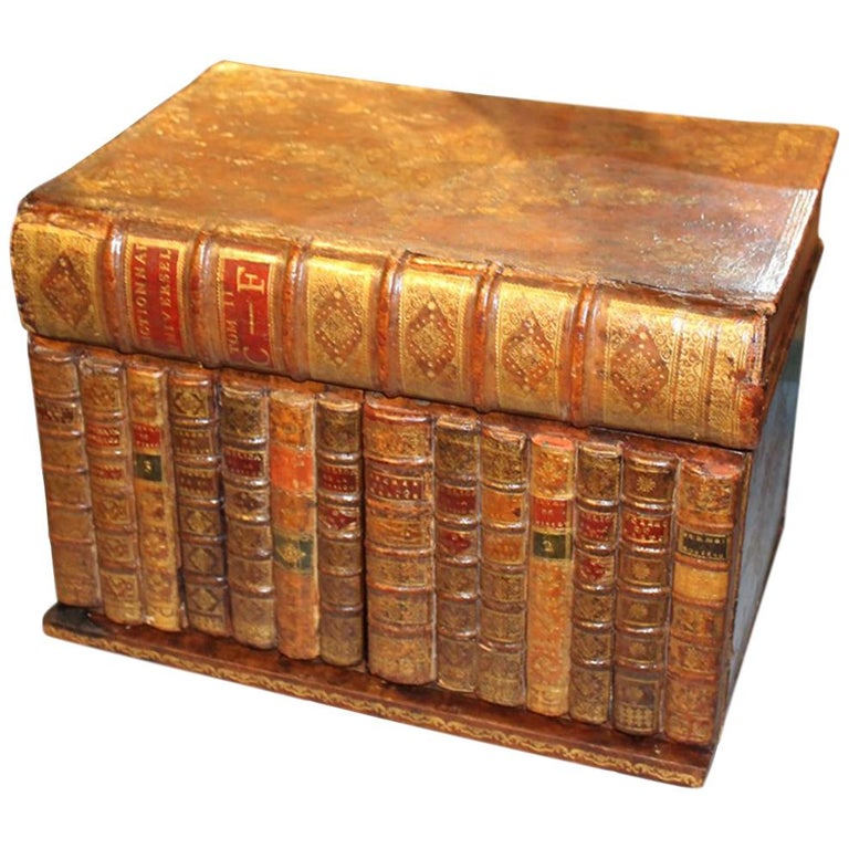 19th Century Mahogany Tantalus in the Form of Leather Bound Books For Sale
