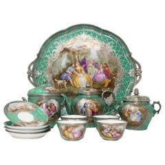 Beautiful 19th Century Sevres-Style Green Tea-Set