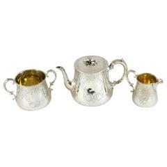 Antique Victorian Sterling Silver Tea Service Set, London, 1842