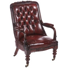 Quality William IV Carved Mahogany Leather Button Back Library Chair