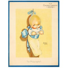 Original Vintage Galeries Lafayette Poster - A Philosopher - Ft. Baby in a Pouch