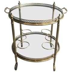 Neoclassical Brass Round Bar Cart, French, circa 1940