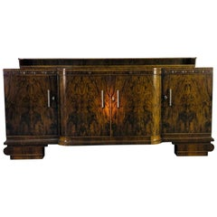 Large Original Art Deco Sideboard made of Walnut with Cherry Ornamentation