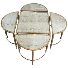 Rare Five Elements Coffee Table with Faux-Antiques Mirror Shelves