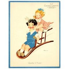 Original Vintage Galeries Lafayette Poster Winter Sports - Children Chair Sledge