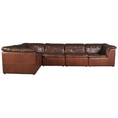 Brown Leather Patchwork Modular Sofa from Laauser, Germany, 1970s