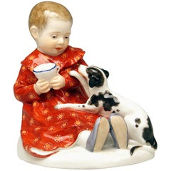 Meissen Art Nouveau Baby Child with Dog by Paul Rumrich Model a 234, circa 1910