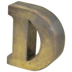 1960s Vintage Italian Uppercase Letter D in Brass