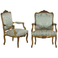 Pair of French Louis XV Style Antique Accent Armchairs Fauteuils in Blue Silk