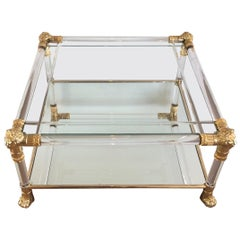 Square Lucite Coffee Table with Gild Lion Heads and Claw Feet, French